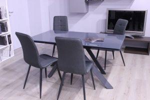 tavolo in cristallo allungabile Nestore in ferro antracite e cristallo grigio 160x90