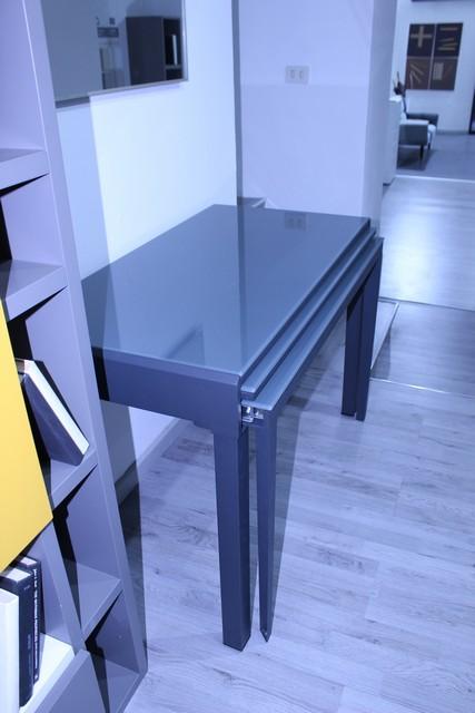 Tavolo consolle Polluce in ferro antracite e cristallo